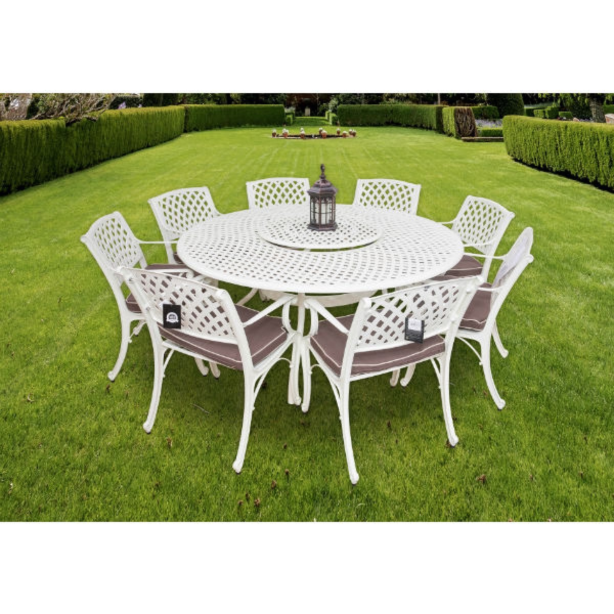 barcelona 8 seater lazy susan garden furniture set hammered cream - Garden Furniture 8 Seater