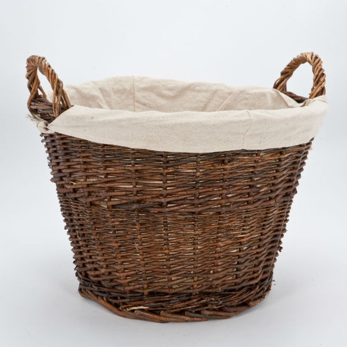 Wicker log basket with removable linen liner - Wicker hamper with liner ...