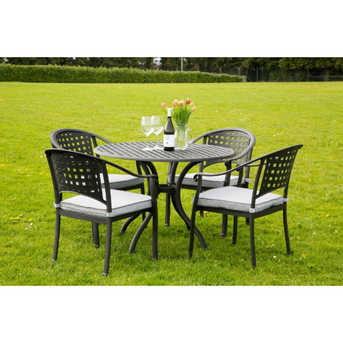 chelmsford 4 seater cast aluminium garden furniture set - Garden Furniture 4 Seater