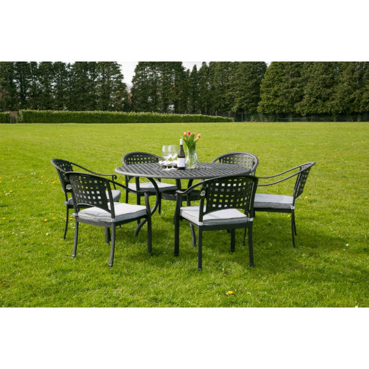 chelmsford 6 seater cast aluminium garden furniture set - Garden Furniture 6 Seater