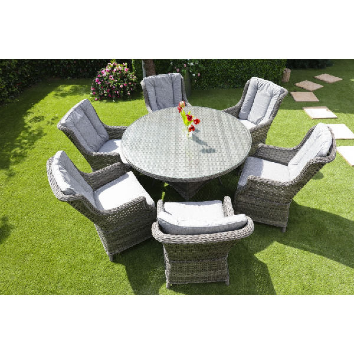 amalfi rattan round 6 seater garden furniture set