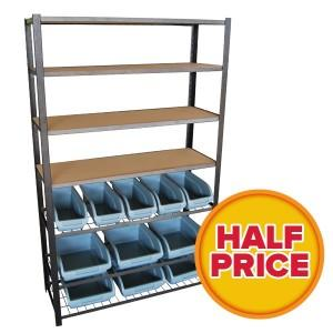 Pro User 1.8M 7 Tier Metal Shelving With 11 Storage Bins