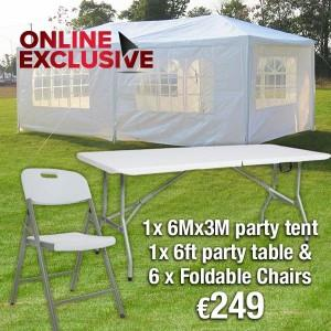Party Package Deal - Party Tent, Folding Table and 6 Folding Chairs