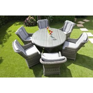 amalfi rattan round 6 seater garden furniture set - Garden Furniture 6 Seater Round