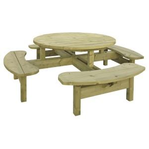 Woodford Seater Round Picnic Table - 8 seater round picnic table